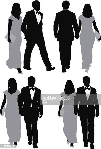 Multiple images of a couple walking