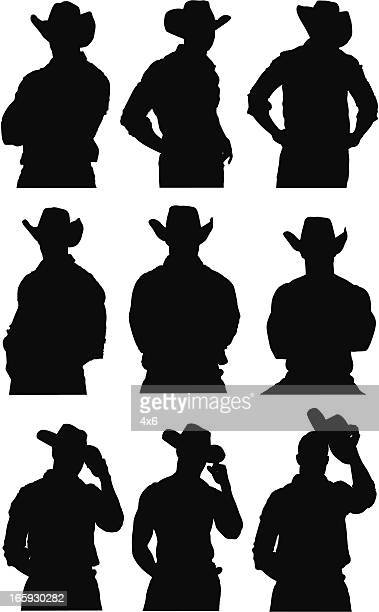 multiple images of a cowboy - cowboy stock illustrations, clip art, cartoons, & icons