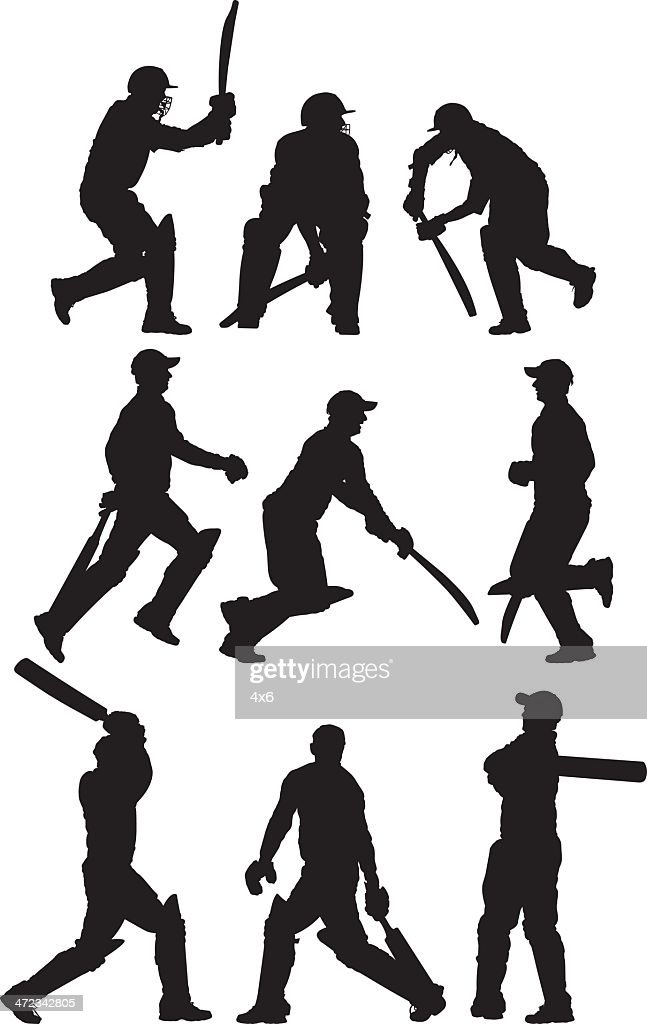 Multiple images of a cricket player : Stock Illustration