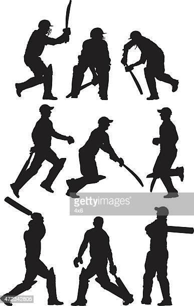 multiple images of a cricket player - sport of cricket stock illustrations