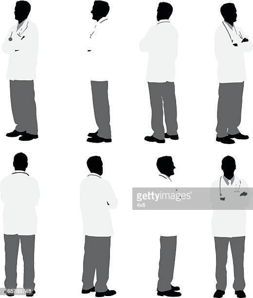 multiple images of a doctor - surgeon stock illustrations
