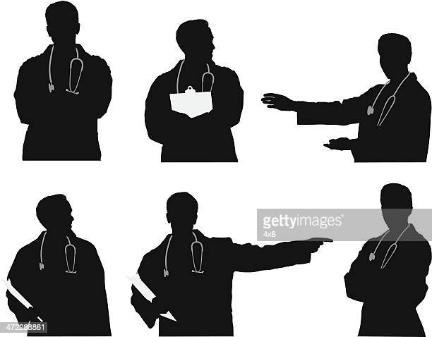 multiple images of a doctor - waist up stock illustrations