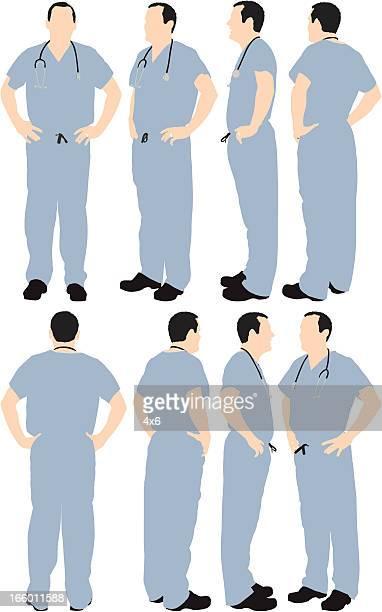 ilustrações, clipart, desenhos animados e ícones de várias imagens de um médico com as mãos nos quadris - mão no quadril