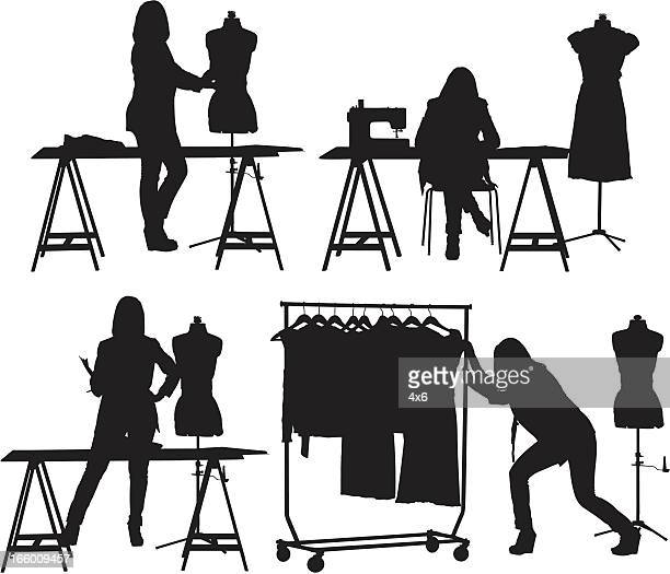 multiple images of  a fashion designer at studio - mannequin stock illustrations, clip art, cartoons, & icons