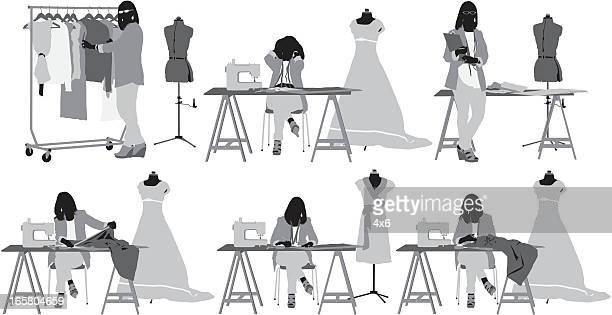 ilustraciones, imágenes clip art, dibujos animados e iconos de stock de varias imágenes de un diseñador de moda en su taller - tirarse de los pelos