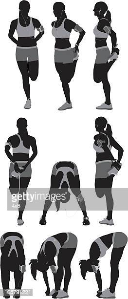 Multiple images of a female athlete exercising