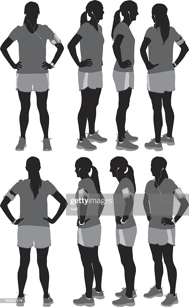 Multiple images of a female athlete : stock illustration