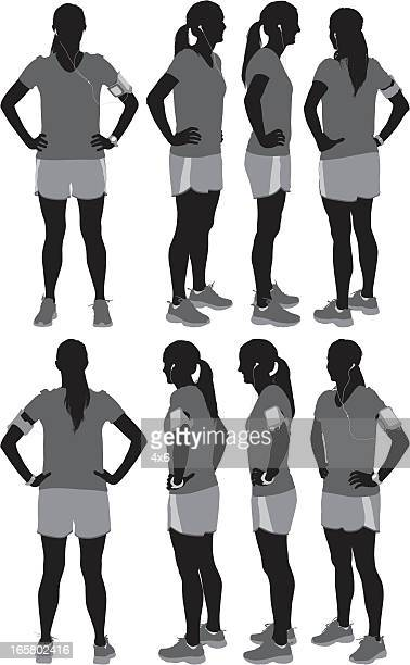 複数のイメージの女性選手 - ポニーテール点のイラスト素材/クリップアート素材/マンガ素材/アイコン素材