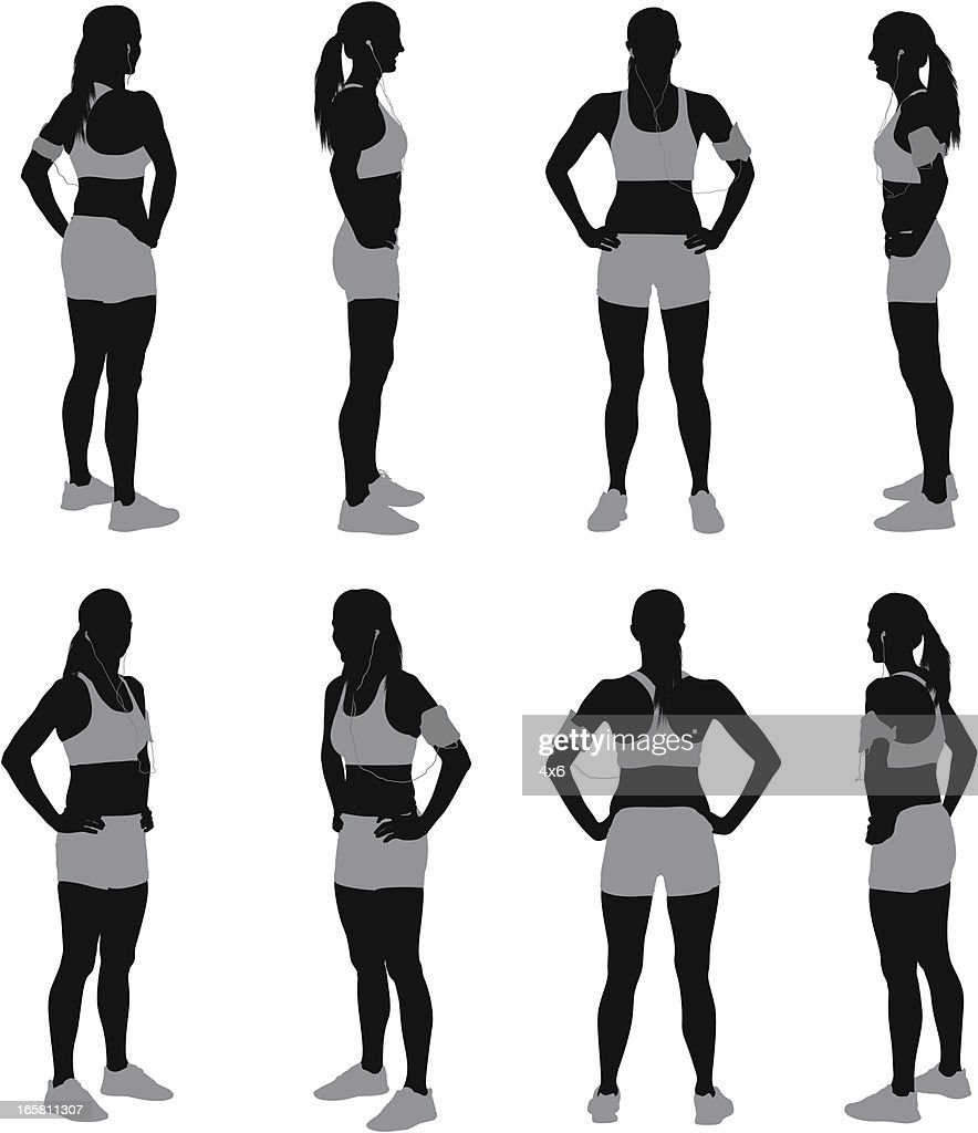 Multiple images of a female athlete