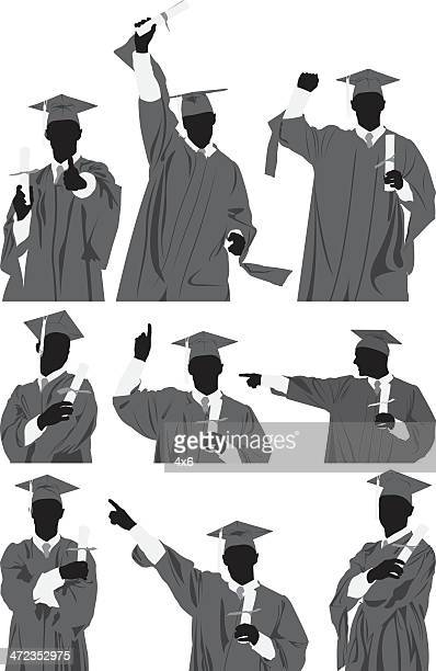 Multiple images of a graduate with diploma
