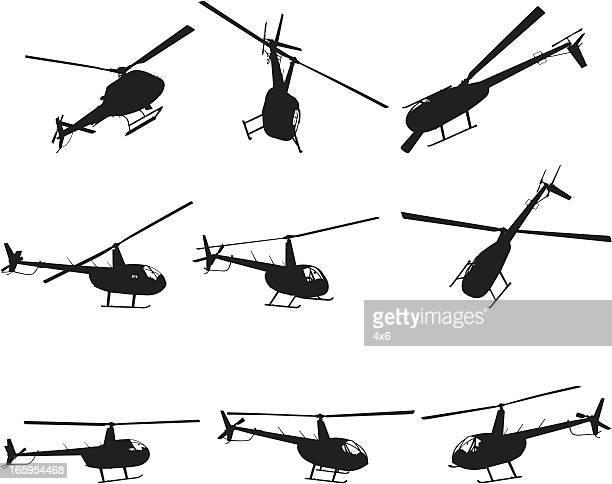 Mehrere Bilder aus einem Hubschrauber im Flug