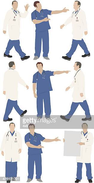 multiple images of a male doctor in different poses - surgeon stock illustrations