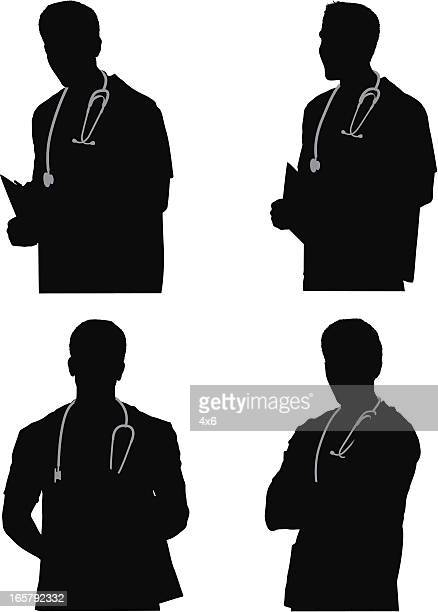 multiple images of a male nurse - waist up stock illustrations