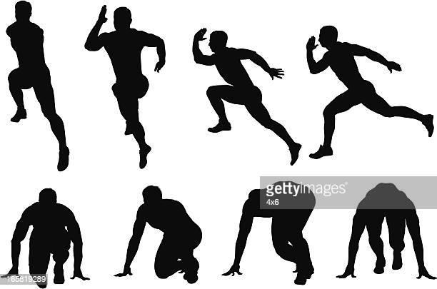 ilustraciones, imágenes clip art, dibujos animados e iconos de stock de varias imágenes de un hombre de corredor - atleta atletismo