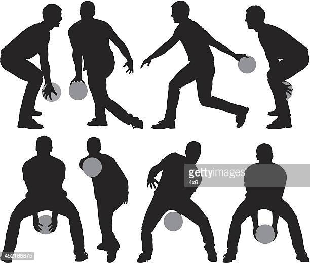 Multiple images of a man bowling
