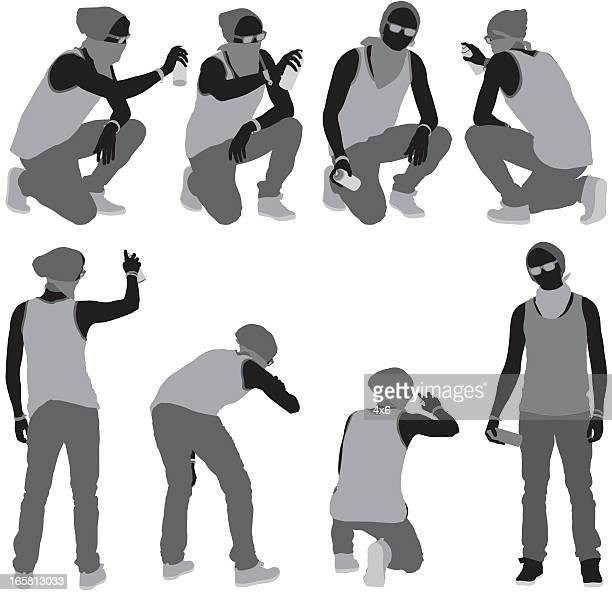 multiple images of a man doing graffiti - crouching stock illustrations, clip art, cartoons, & icons