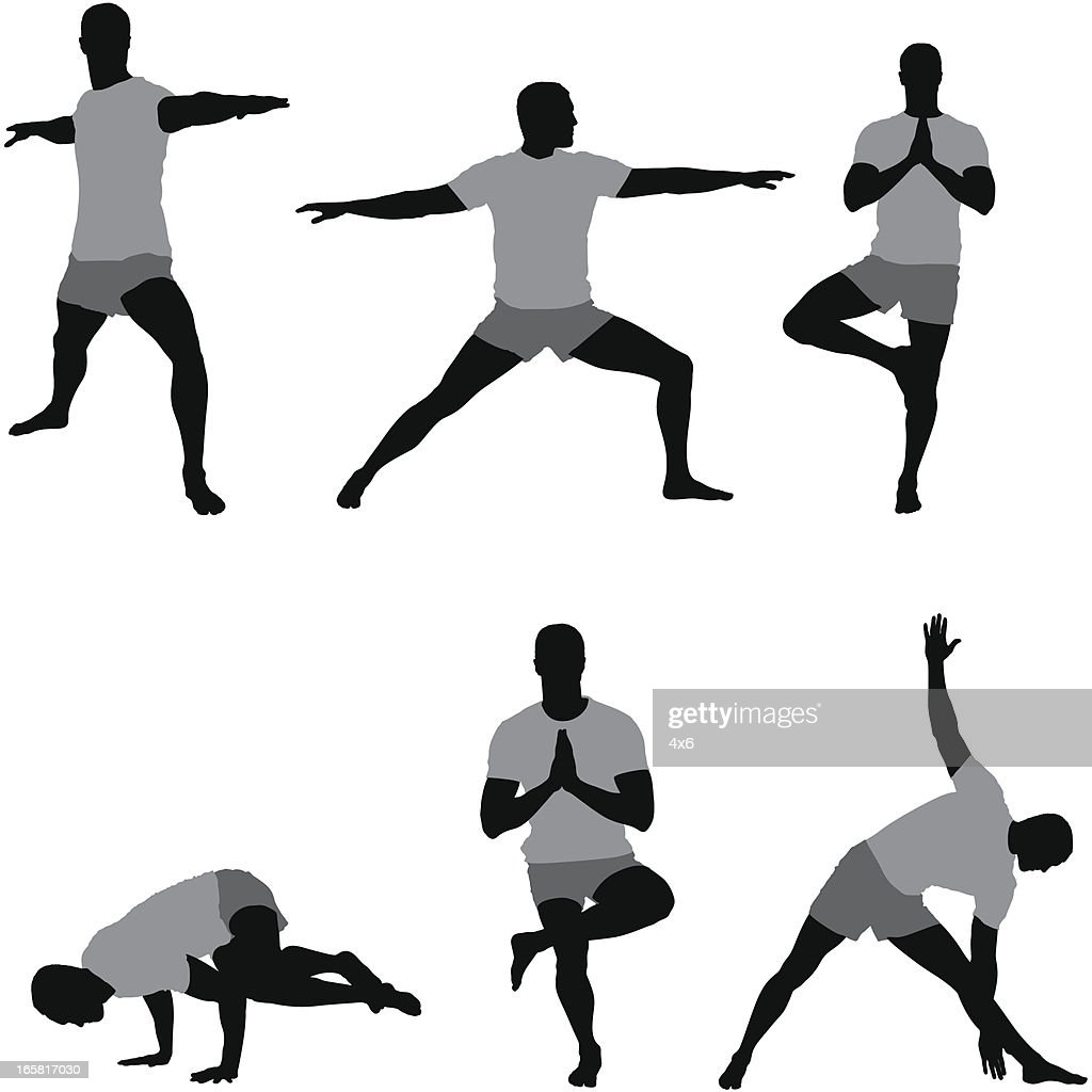 Multiple images of a man exercising : stock illustration
