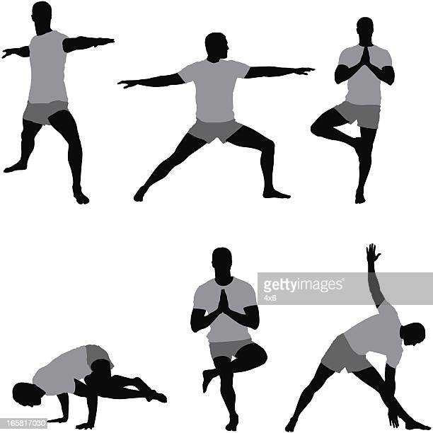 multiple images of a man exercising - stretching stock illustrations, clip art, cartoons, & icons