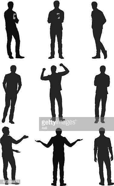 multiple images of a man gesturing - gesturing stock illustrations, clip art, cartoons, & icons