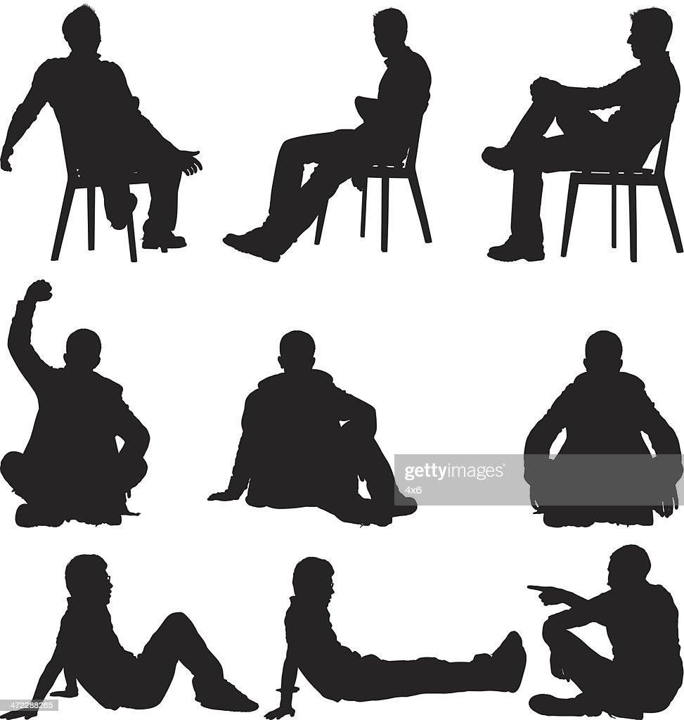 Mehrere Bilder von einem Mann in verschiedenen Aktivitäten : Stock-Illustration