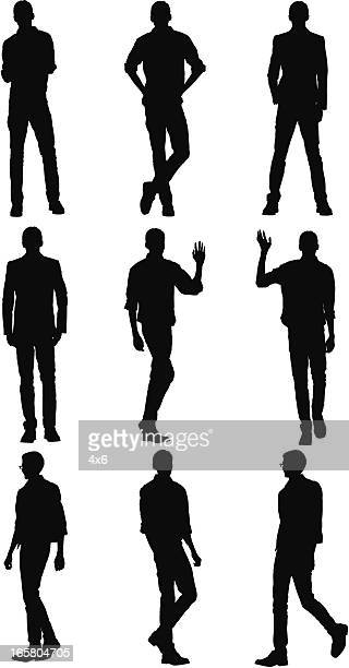 multiple images of a man in different poses - legs apart stock illustrations