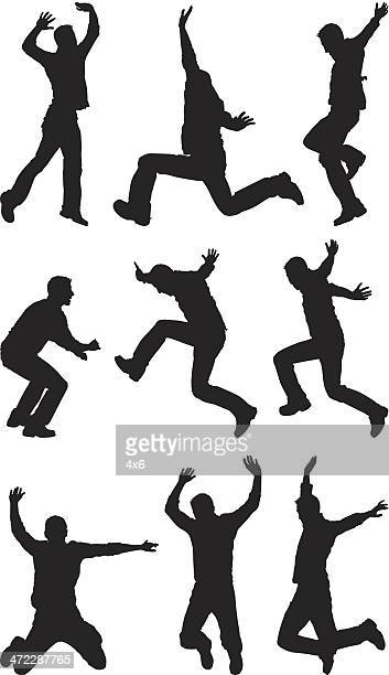 multiple images of a man jumping - jumping stock illustrations