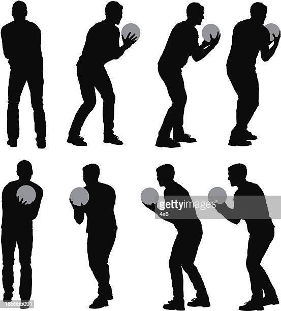 multiple images of a man playing bowling ball - bowling ball stock illustrations, clip art, cartoons, & icons