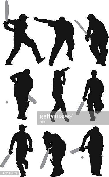 Multiple images of a man playing cricket