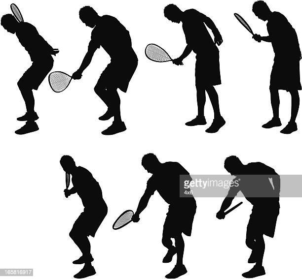multiple images of a man playing racquetball - sports equipment stock illustrations