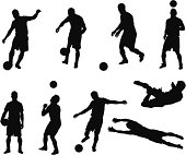 Multiple images of a man playing soccer