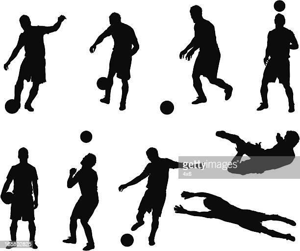 illustrazioni stock, clip art, cartoni animati e icone di tendenza di più immagini di un uomo di giocare a calcio - calciatore