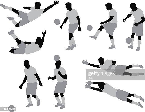 multiple images of a man playing soccer - sportsperson stock illustrations