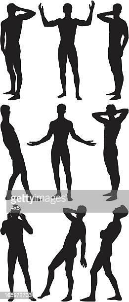 bildbanksillustrationer, clip art samt tecknat material och ikoner med multiple images of a man posing - naket