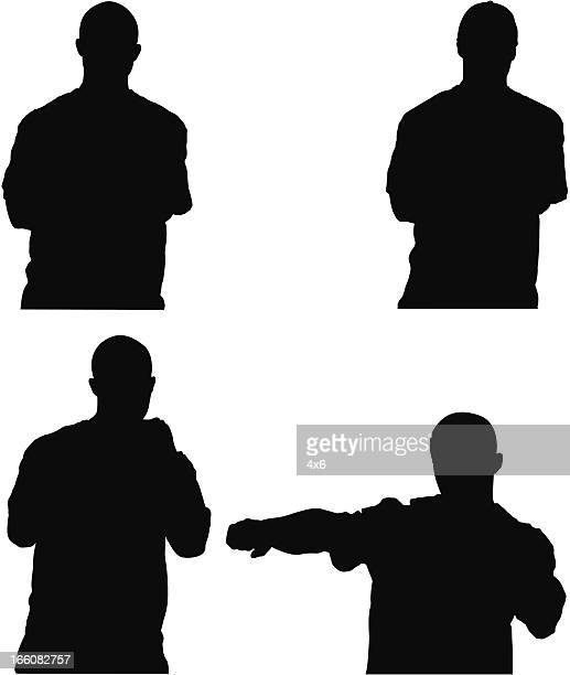 multiple images of a man posing - fighting stance stock illustrations, clip art, cartoons, & icons