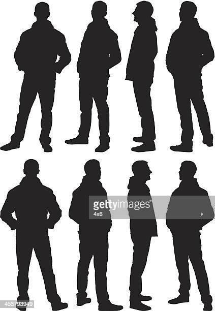 Plusieurs images d'un homme posant