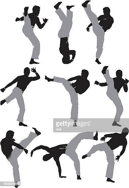 ilustrações de stock, clip art, desenhos animados e ícones de várias imagens de um homem prática de capoeira - capoeira