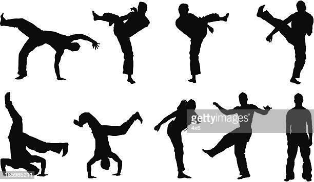 mehrere bilder von ein mann beim capoeira - halbbekleidet stock-grafiken, -clipart, -cartoons und -symbole