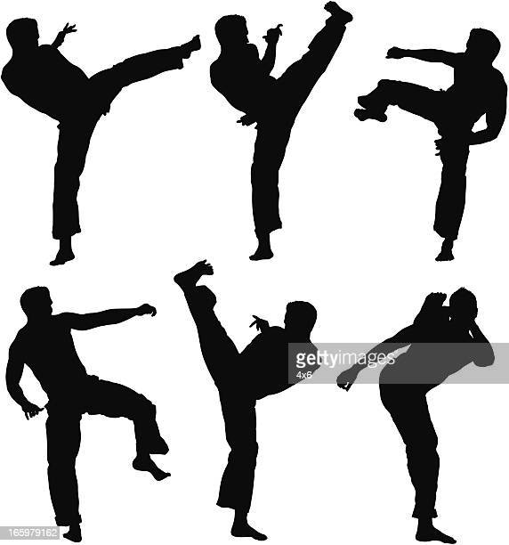 Multiple images of a man practicing capoeira