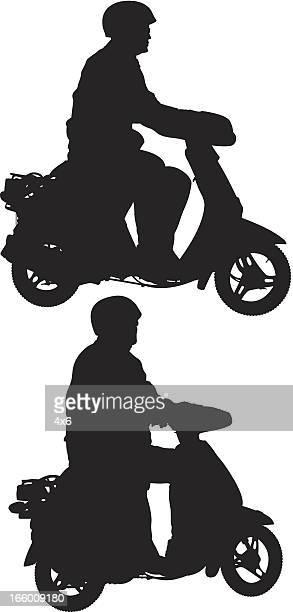 stockillustraties, clipart, cartoons en iconen met multiple images of a man riding scooter - moped