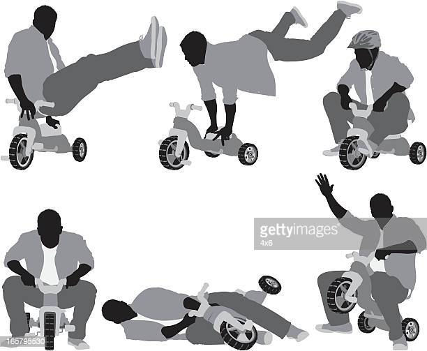 Multiple images of a man riding tricycle