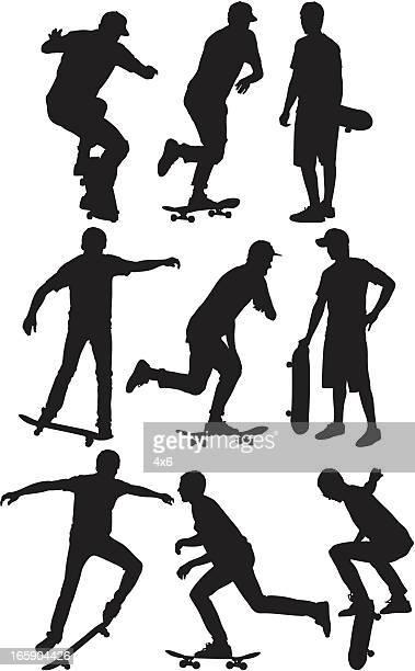 Multiple images of a man skateboarding