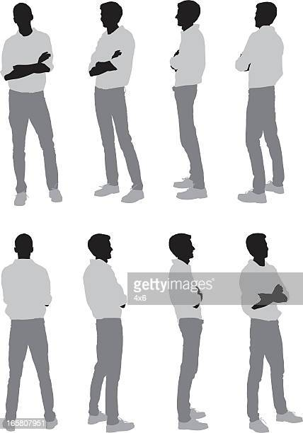 multiple images of a man standing with arms crossed - full length stock illustrations, clip art, cartoons, & icons