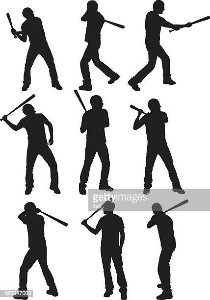 bildbanksillustrationer, clip art samt tecknat material och ikoner med multiple images of a man swinging baseball bat - basebollslag