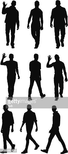 multiple images of a man walking - multiple image stock illustrations, clip art, cartoons, & icons