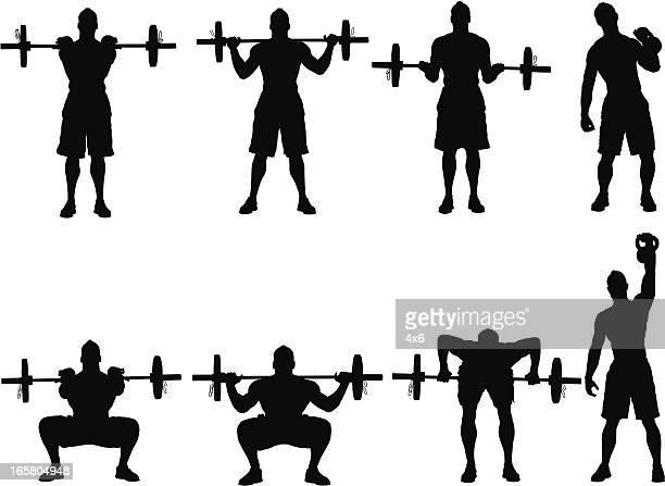 Plusieurs images d'un homme de musculation