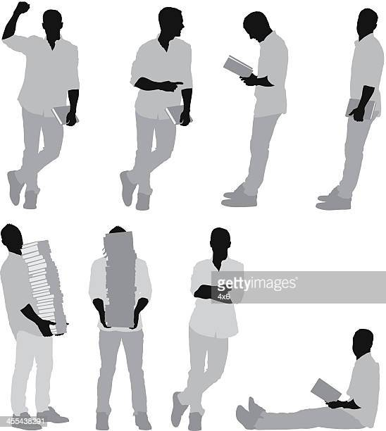 multiple images of a man with books - legs crossed at ankle stock illustrations