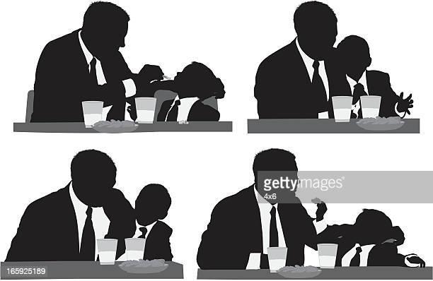 ilustrações de stock, clip art, desenhos animados e ícones de várias imagens de um homem com seu filho com alimentos - mesa cafe da manha