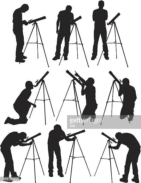 Multiple images of a man with telescope