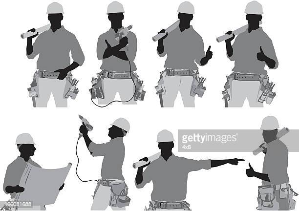 multiple images of a manual worker in different poses - tool belt stock illustrations, clip art, cartoons, & icons