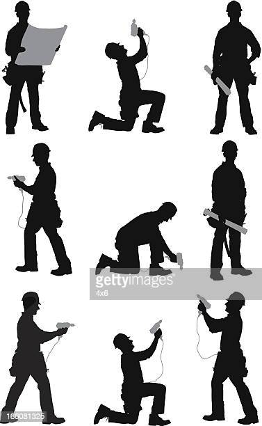 multiple images of a manual worker - carpenter stock illustrations
